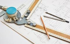 Stock Photo of old technical drawings