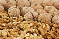 pile of walnuts  broken - stock photo