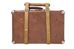 old suitcase tied with a belt - stock photo