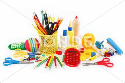 Stock photo of office and student accessories isolated on a white background. back to school