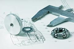 Stock Photo of mechanical scheme and calipers
