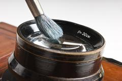 lens cleaning brush - stock photo