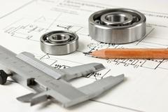 Mechanical scheme and bearing Stock Photos