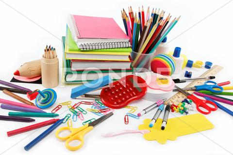 Stock photo of school and office supplies on white background. back to school.