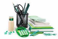 Office and student accessories isolated on a white background. back to school Stock Photos