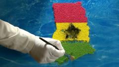 Ghana map - artist Stock Footage