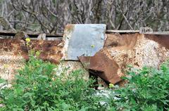 rusty fence - stock photo