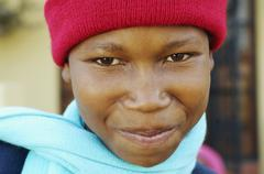 African boy wearing winter hat and scarf Stock Photos