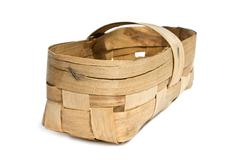 Basket woven of birch bark Stock Photos