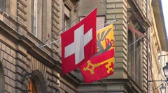 Swiss flags on the building g 3 Stock Footage