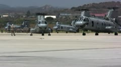 Two CH-46 Sea Knights on runway Stock Footage