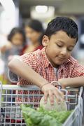 Indian boy putting fruit in shopping cart Stock Photos