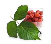 berries raspberries in a glass - stock photo