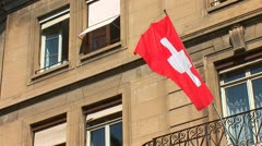 Swiss flag on the building Stock Footage