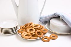 Stock Photo of tea set and bagels
