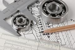Stock Photo of mechanical scheme and  bearing