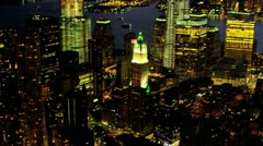 Aerial view Manhattan illuminated at night, USA Stock Footage