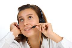 Stock Photo of beautiful call center girl portrait
