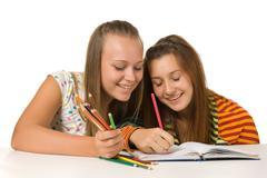 Stock Photo of two teenage girls  paint
