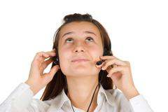 Stock Photo of young girl operator call center