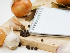 notebook for culinary recipes - stock photo