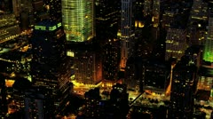 Aerial night illuminated view One World Trade Centre, New York, USA Stock Footage
