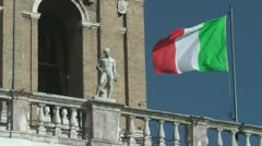 Italian Flag flying in Rome Stock Footage