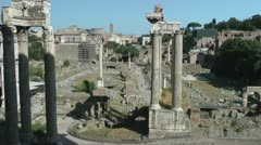 Roman Forum from above. Tourists visit. Stock Footage
