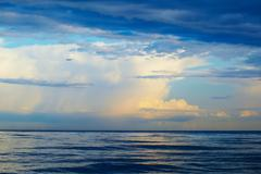 plane, sea, thunderstorm - stock photo