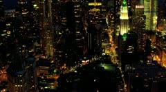 Aerial night illuminated view One World Trade Centre, New York, USA - stock footage