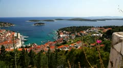 View of the city of hvar from a fortification. Island Hvar. Croatia. - stock footage