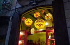 The luminous window of a toy shop Stock Photos