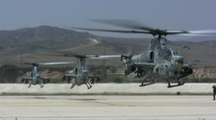 AH-1Z Vipers coming in for landing Stock Footage