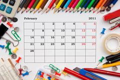 calendar for february 2011 - stock photo