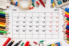 calendar for july 2011 - stock photo