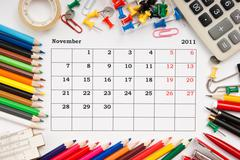 Calendar for november 2011 Stock Photos