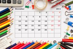 Calendar for december 2011 Stock Photos