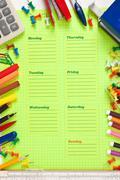 school schedule for the week - stock photo