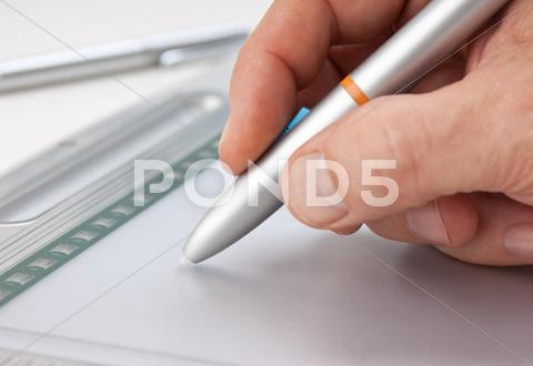 Stock photo of men's hand draws