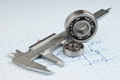 Technical drawing and callipers with  bearing Stock Photos