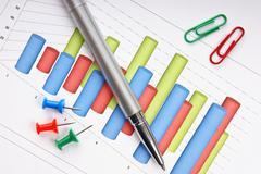 pen and  diagram - stock photo