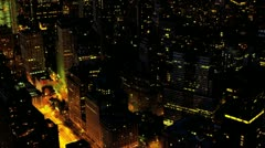 Aerial illuminated view of traffic at night, Manhattan, New York, USA, Stock Footage