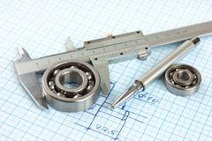 technical drawing and callipers with  bearing - stock photo