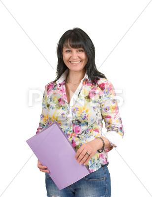 Stock photo of mature business lady with a folder