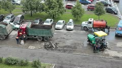 City special vehicles for road works - stock footage