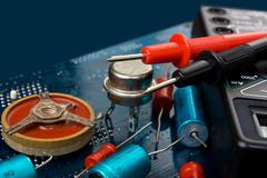 old electronic components - stock photo