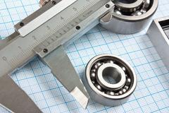 calliper and a bearing - stock photo