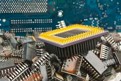 Pile old electronic chip Stock Photos