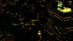 Aerial view of downtown Manhattan illuminated at night, USA Stock Footage