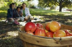 Basket of apples with family in background Stock Photos